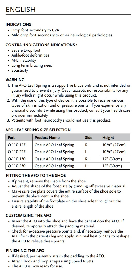 afo leaf spring instructions